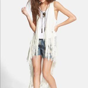 Free people Smokey white  fringe  vest size S